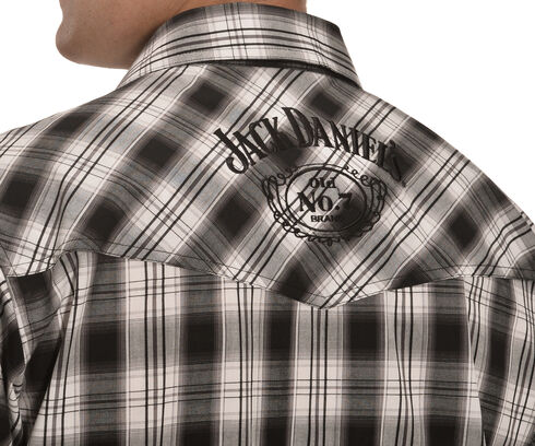 Jack Daniels Men's Black Plaid Western Snap Shirt , Black, hi-res