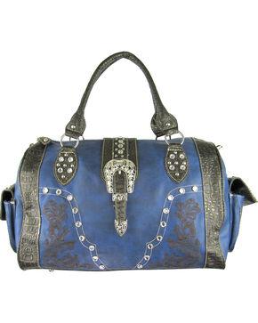 Savana Women's Navy Embroidery and Rhinestone Duffle Bag, Navy, hi-res