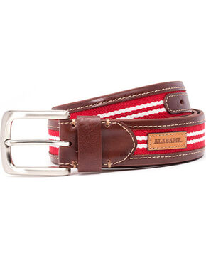 Jack Mason Men's University of Alabama Tailgate Belt , Brown, hi-res