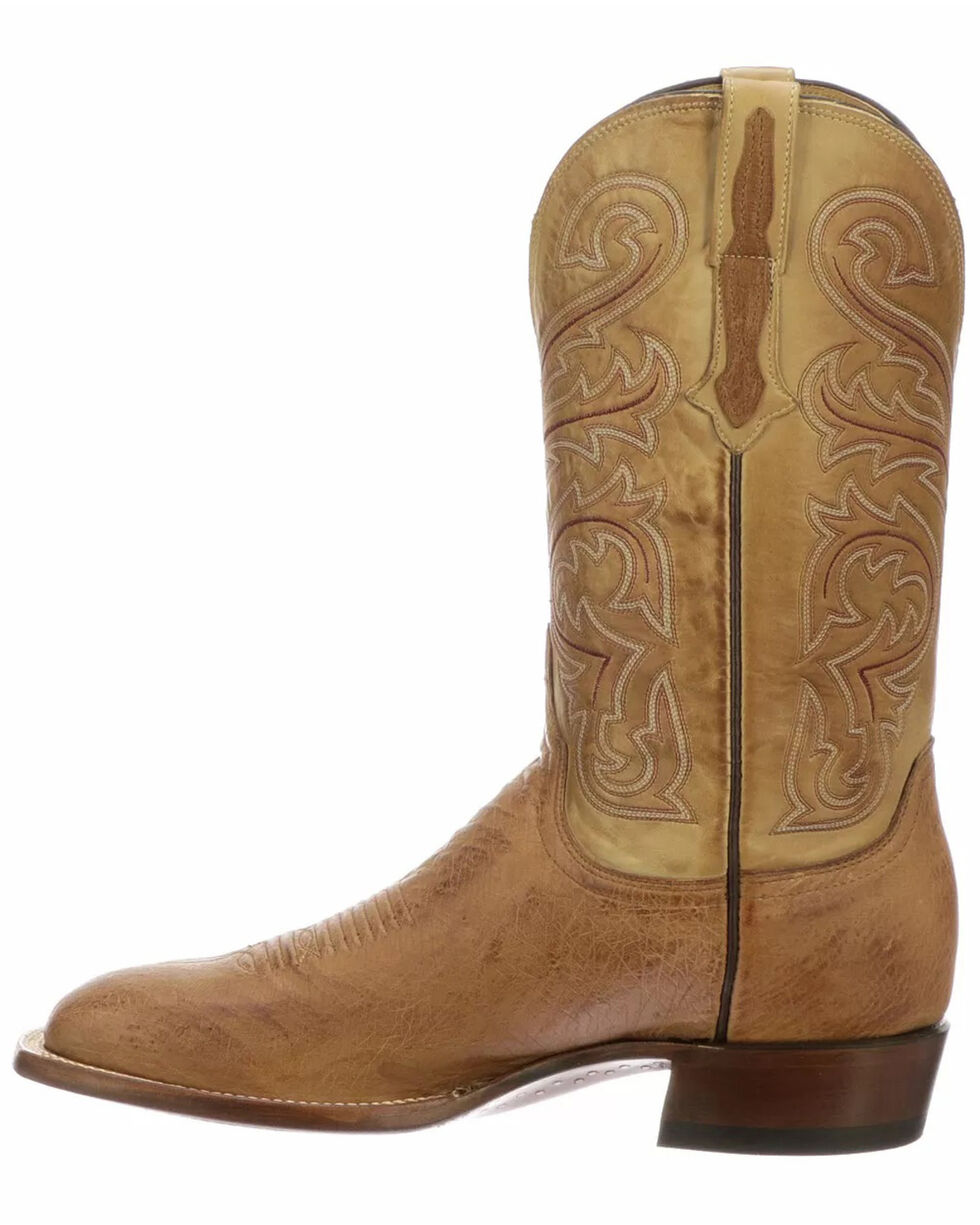 Men/'s size 14 US Brown Leather and Orange Smooth Ostrich Skin Square Toed Circle G by Corral Cowboy Work Boots