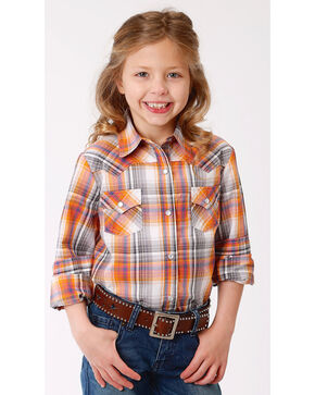 Roper Girls' Orange Ombre Plaid Western Shirt , Orange, hi-res