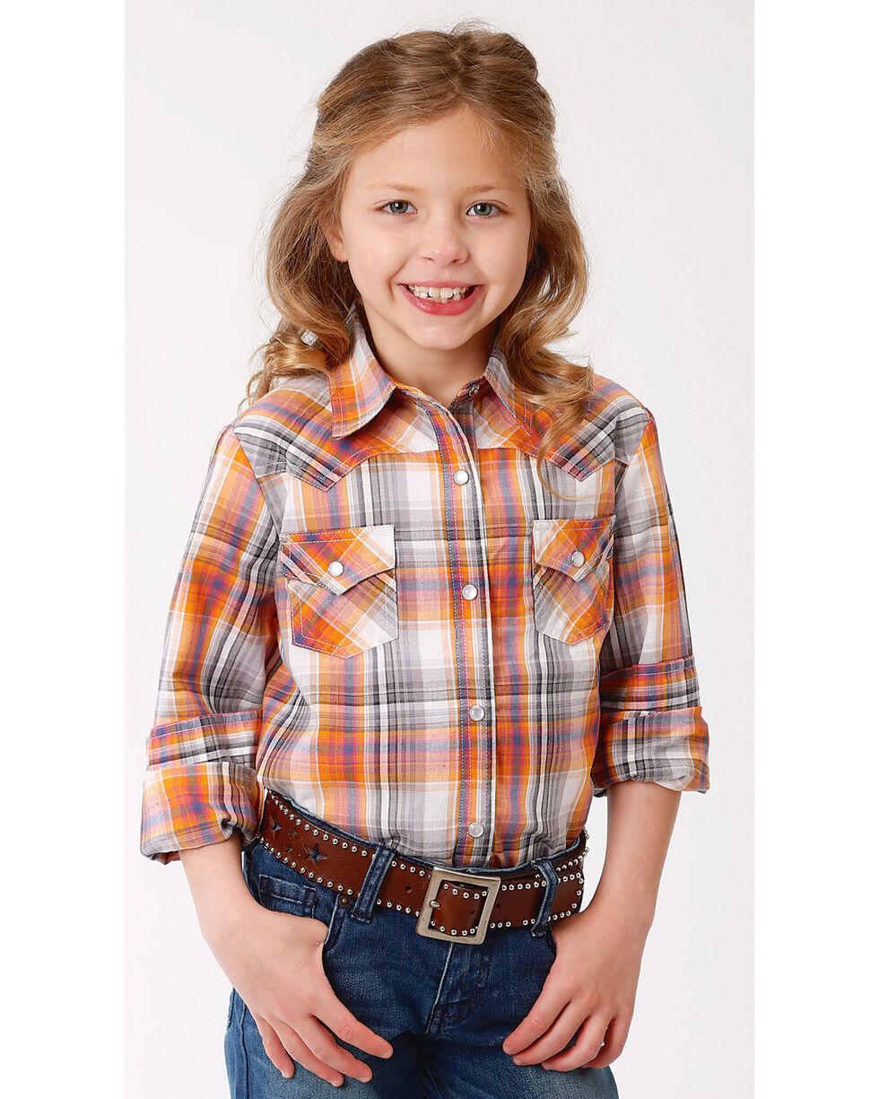 Roper Girls' Orange Ombre Plaid Western Shirt , Orange, hi-res