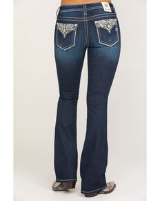Miss Me Women's Dark Wash Metallic Glitter Glitz Bootcut Jeans , Blue, hi-res