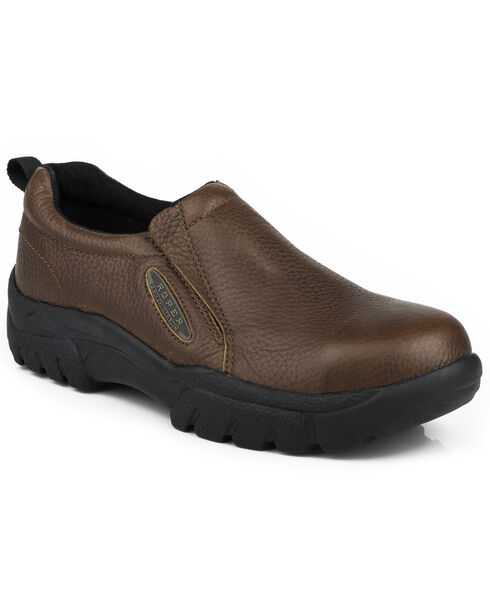 Roper Men's Slip-On Steel Toe Work Shoes, Brown, hi-res