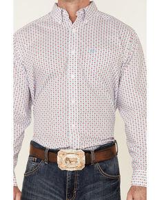 Ariat Men's Wrinkle Free Stefon Geo Print Long Sleeve Button-Down Western Shirt , White, hi-res
