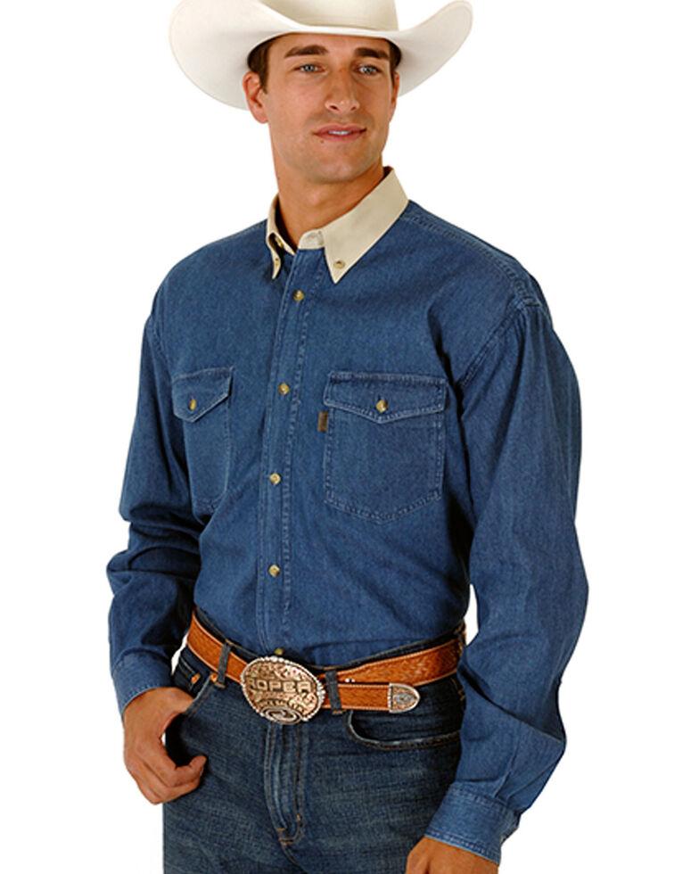 Roper Men's Contrasting Collar Twill Long Sleeve Western Shirt - Big & Tall, Denim, hi-res
