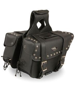 Milwaukee Leather Medium Zip-Off Slanted Throw Over Studded Saddle Bag, Black, hi-res