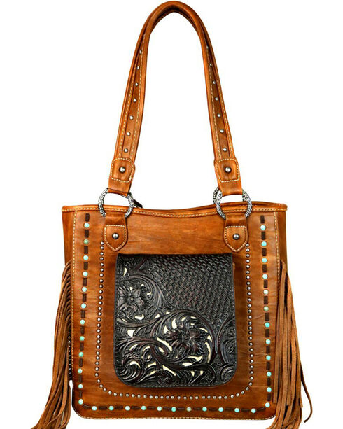 Trinity Ranch Women's Brown Tooled Concealed Handgun Tote , Brown, hi-res