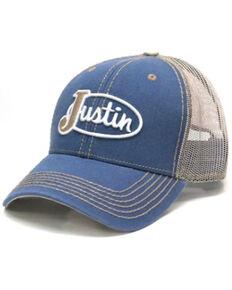 Justin Men's Light Blue & White Logo Patch Mesh-Back Ball Cap , Blue, hi-res