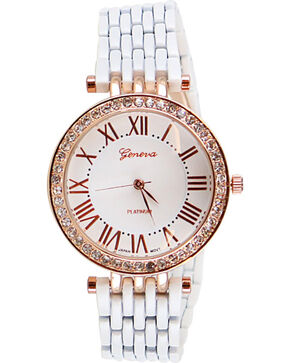 Shyanne Women's White Rhinestone Aluminum Watch , White, hi-res