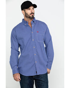 Ariat Men's FR Cobalt Print Liberty Long Sleeve Work Shirt - Tall , Blue, hi-res