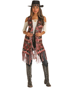 Powder River Outfitters Women's Aztec Jacquard Fringe Vest , Brown, hi-res