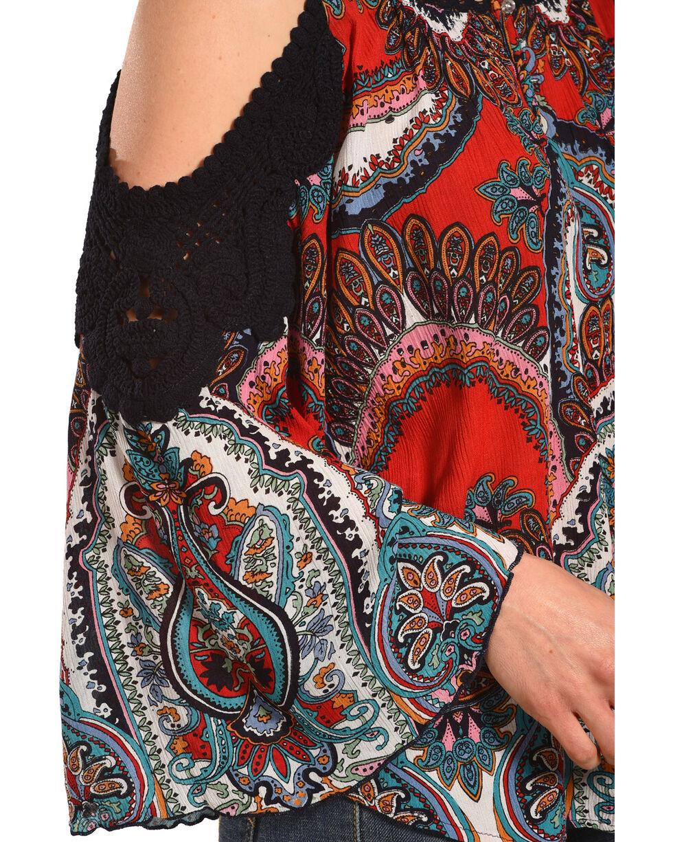 Bila Women's Red Gypsy Print Long Sleeve Blouse , Red, hi-res