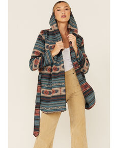 Cripple Creek Women's Turquoise Navajo Tie-Front Blanket Hooded Wrap Jacket , Turquoise, hi-res