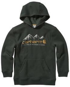 Carhartt Boys' 4-7 Green Fleece Logo Graphic Hooded Sweatshirt , Green, hi-res