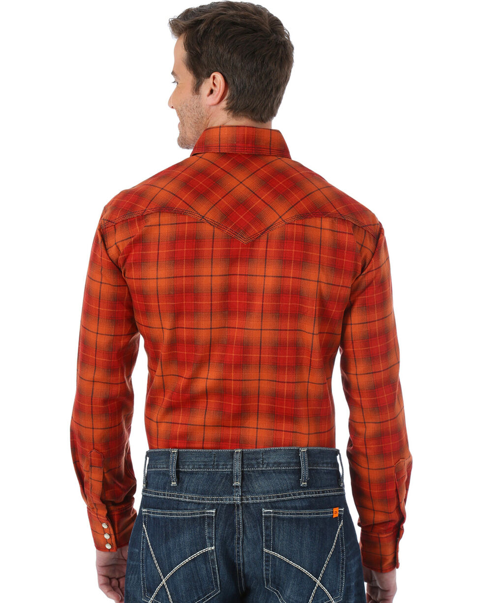Wrangler Men's Orange 20X FR Long Sleeve Fashion Plaid Shirt , Orange, hi-res