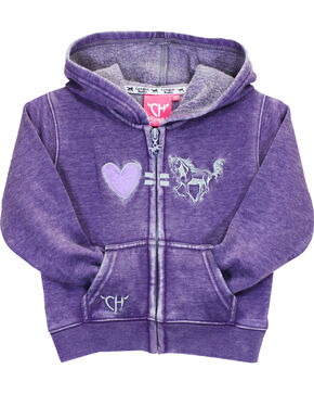 Cowgirl Hardware Toddler Girls' Purple Love Equals Horses Full Zip Hoodie, Purple, hi-res
