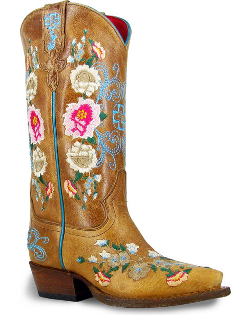 Macie Bean Girls' I Never Promised You A Rose Garden Boots - Snip Toe , Tan, hi-res
