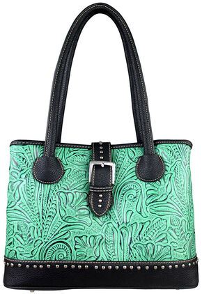 Montana West Trinity Ranch Tooled Design Concealed Handgun Collection Handbag, Turquoise, hi-res