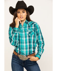 As Real As Wrangler Women's Green Snap Long Sleeve Western Shirt , Green, hi-res