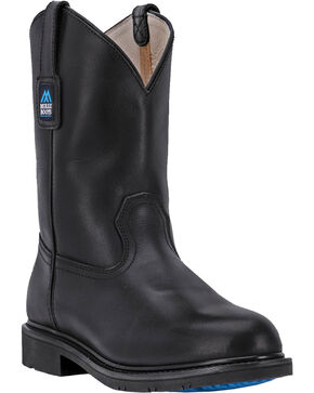 McRae Men's Black Leather Western Work Boots - Round Toe, Black, hi-res
