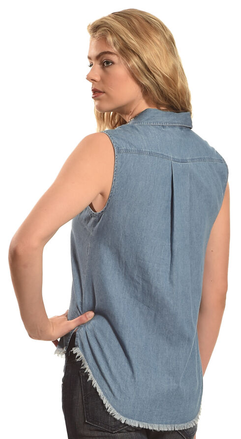 Derek Heart Women's Sleeveless Denim Button Down Shirt - Plus Size, Dark Blue, hi-res