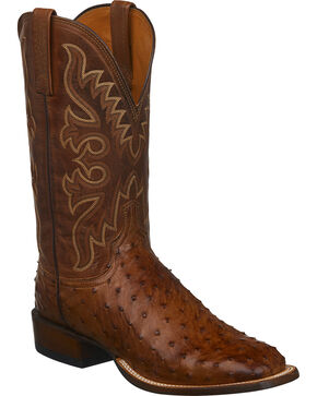 Lucchese Men's Handmade Barnwood Full Quill Ostrich Cowboy Boots - Square Toe, Brown, hi-res