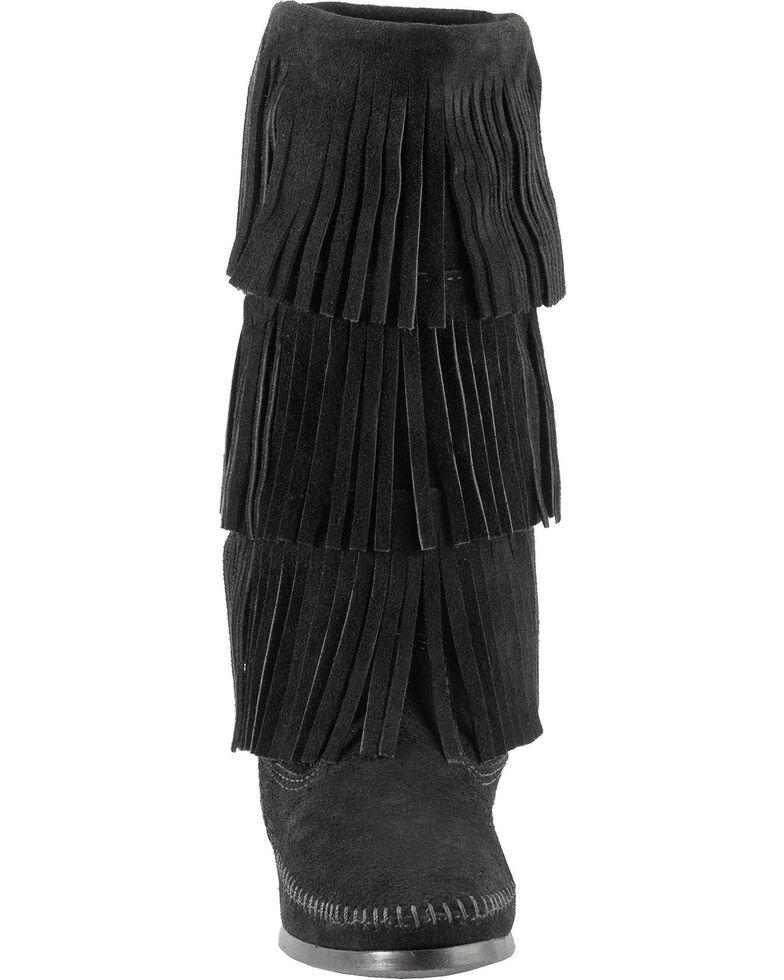 Minnetonka Tall Fringed Boots, Black, hi-res