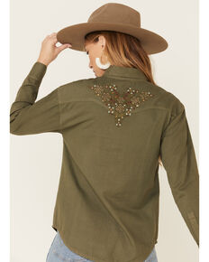 Shyanne Women's Olive Floral Embroidered Shirt Jacket , Olive, hi-res