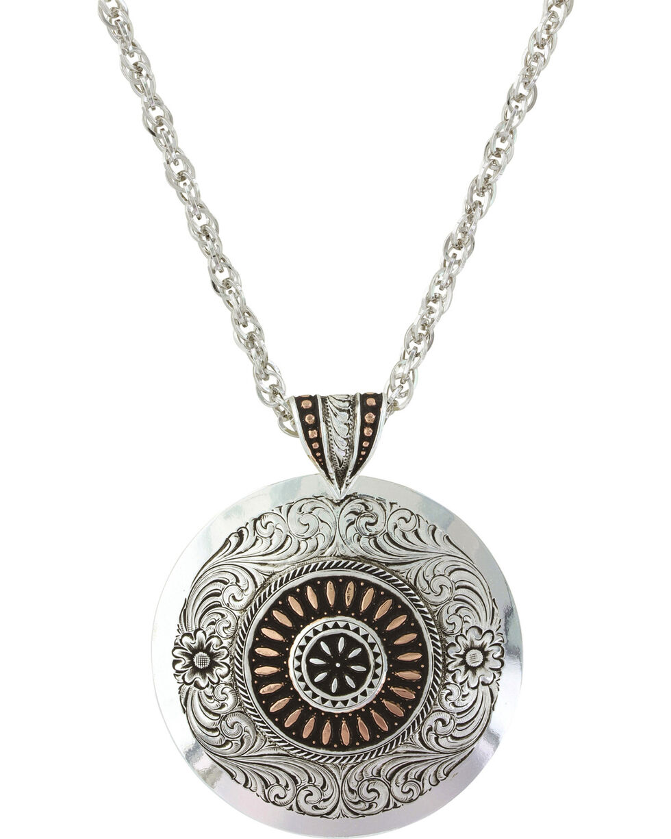 Montana Silversmiths Women's Prairie Fire Concho Necklace , Silver, hi-res