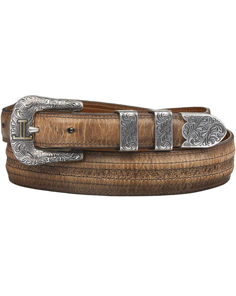 Lucchese Tan Mad Dog Goat with Hobby Stitch Belt, Tan, hi-res