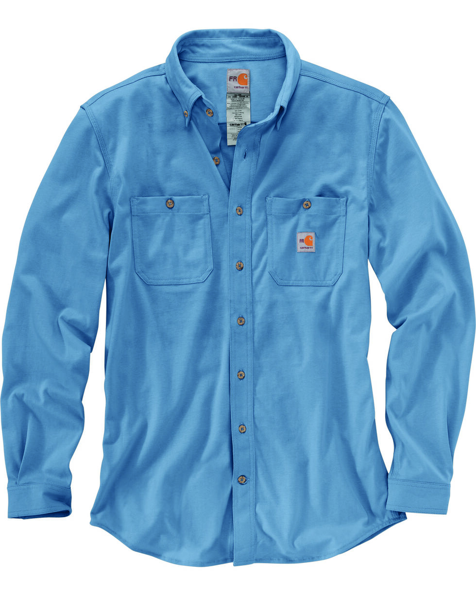 Carhartt Men's Blue Flame-Resistant Force Hybrid Shirt - Big & Tall , Medium Blue, hi-res