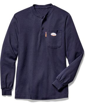 Rasco Men's Navy FR Henley T-Shirt - Big, Navy, hi-res