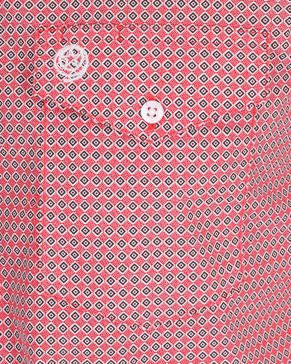 Wrangler Men's George Strait Red Diamond Print Shirt , Red, hi-res