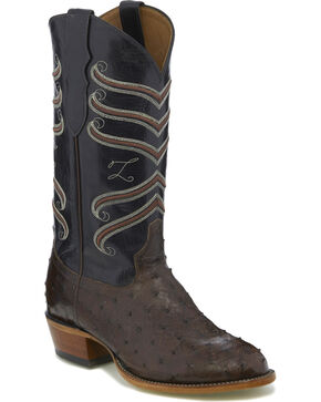 Tony Lama Men's Brown/Black Full Quill Ostrich Cowboy Boots - Round Toe, Dark Brown, hi-res