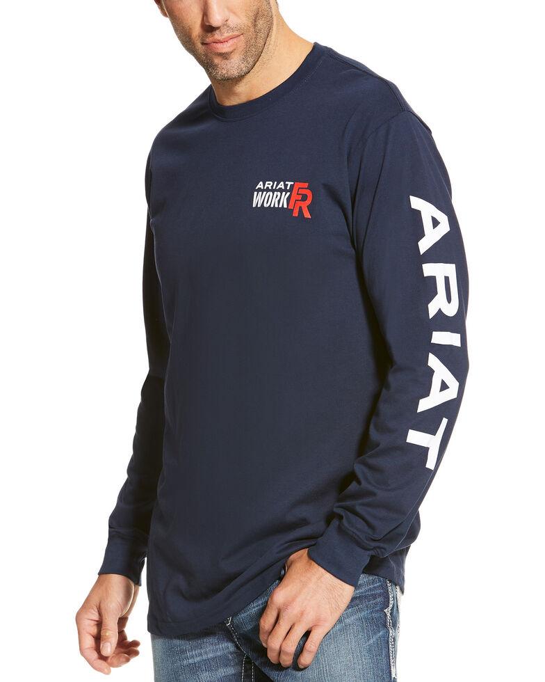 Ariat Men's Navy FR Logo Crew Neck Long Sleeve Shirt - Tall , Navy, hi-res