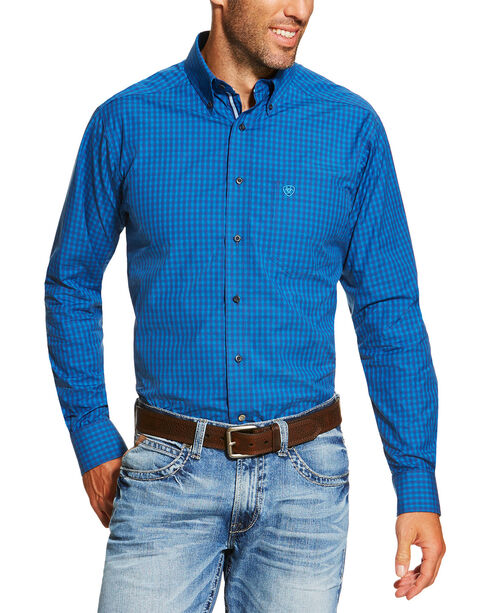 Ariat Men's Blue Pro Series Collin Fitted Long Sleeve Shirt , Indigo, hi-res