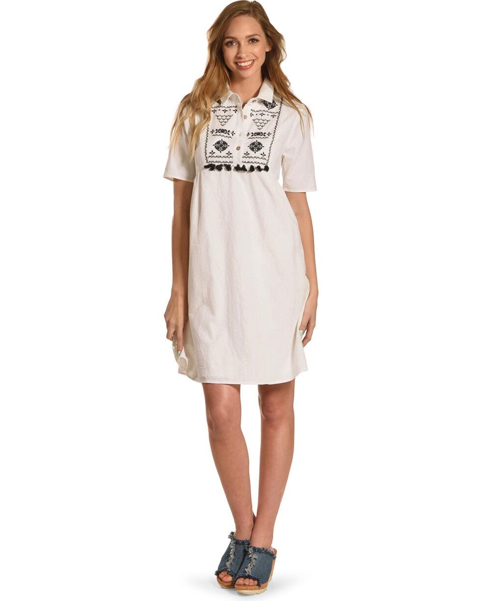 Polagram Women's White Embroidered Tassel Dress, White, hi-res