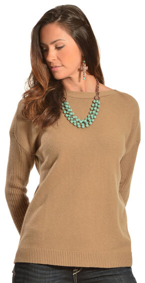 Woolrich Women's Clapshaw Boxy Scoop Sweater, Camel, hi-res