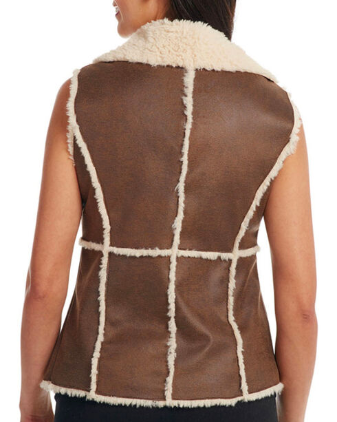 Cripple Creek Women's Open Front Faux Shearling Vest, Tan, hi-res