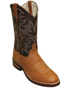 Abilene Men's Two-Toned Cowhide Western Boots - Round Toe, Tan, hi-res