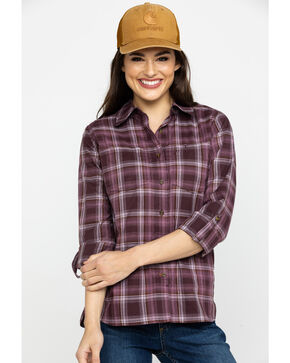 Carhartt Women's Fairview Plaid Shirt , Lavender, hi-res