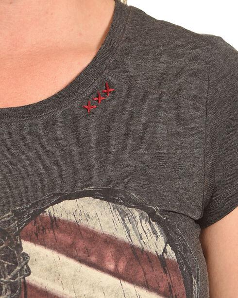 Bohemian Cowgirl Women's Grey Flag Heart Graphic Tee , Dark Grey, hi-res