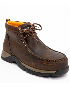 Ariat Men's Brown Waterproof Edge LTE Moc Boots - Composite Toe , Dark Brown, hi-res