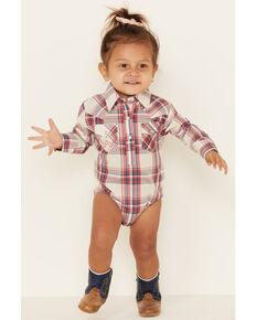 Wrangler Infant Girls' Multi Plaid Long Sleeve Onesie , Multi, hi-res