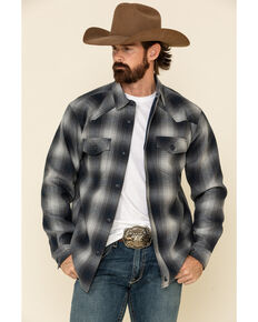 Cody James Men's Evergreen Large Ombre Plaid Long Sleeve Western Flannel Shirt , Navy, hi-res