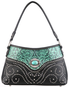 Montana West Trinity Ranch Turquoise Tooled Design Handbag with Single Strap, Black, hi-res
