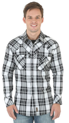 Wrangler Retro Men's Black and White Plaid Western Shirt , Blk/white, hi-res