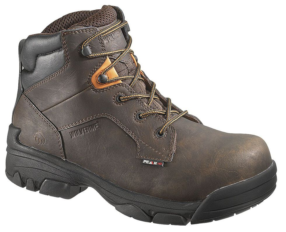 "Wolverine Merlin Waterproof 6"" Lace-Up Work Boots - Composite Toe, Brown, hi-res"