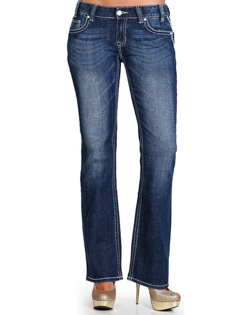 Rock & Roll Cowgirl Women's Dark Wash Low Rise Boot Cut Jean, Blue, hi-res